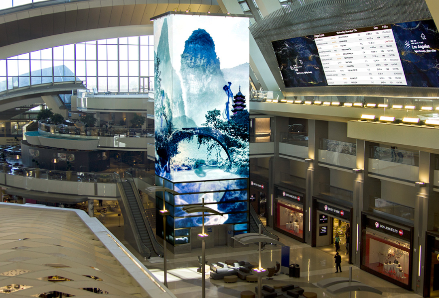 Daktronics installed cutting-edge architecturally integrated indoor video displays at Los Angeles International Airport (LAX).