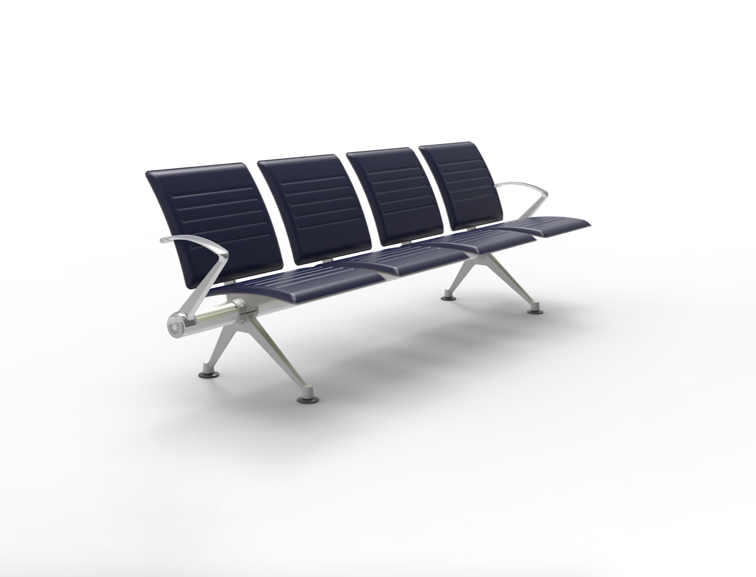 Flite - Low Back with Ribbed Coach Hide Leather finish and Polished Aluminium arms