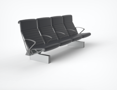 OMK | Trax High Back, Fully Upholstered with arms throughout and extruded foot