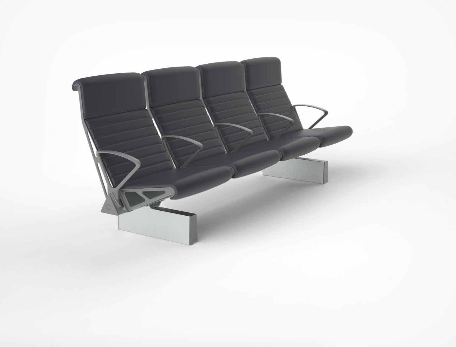 Trax - High Back, fully upholstered with arms throughout and extruded foot