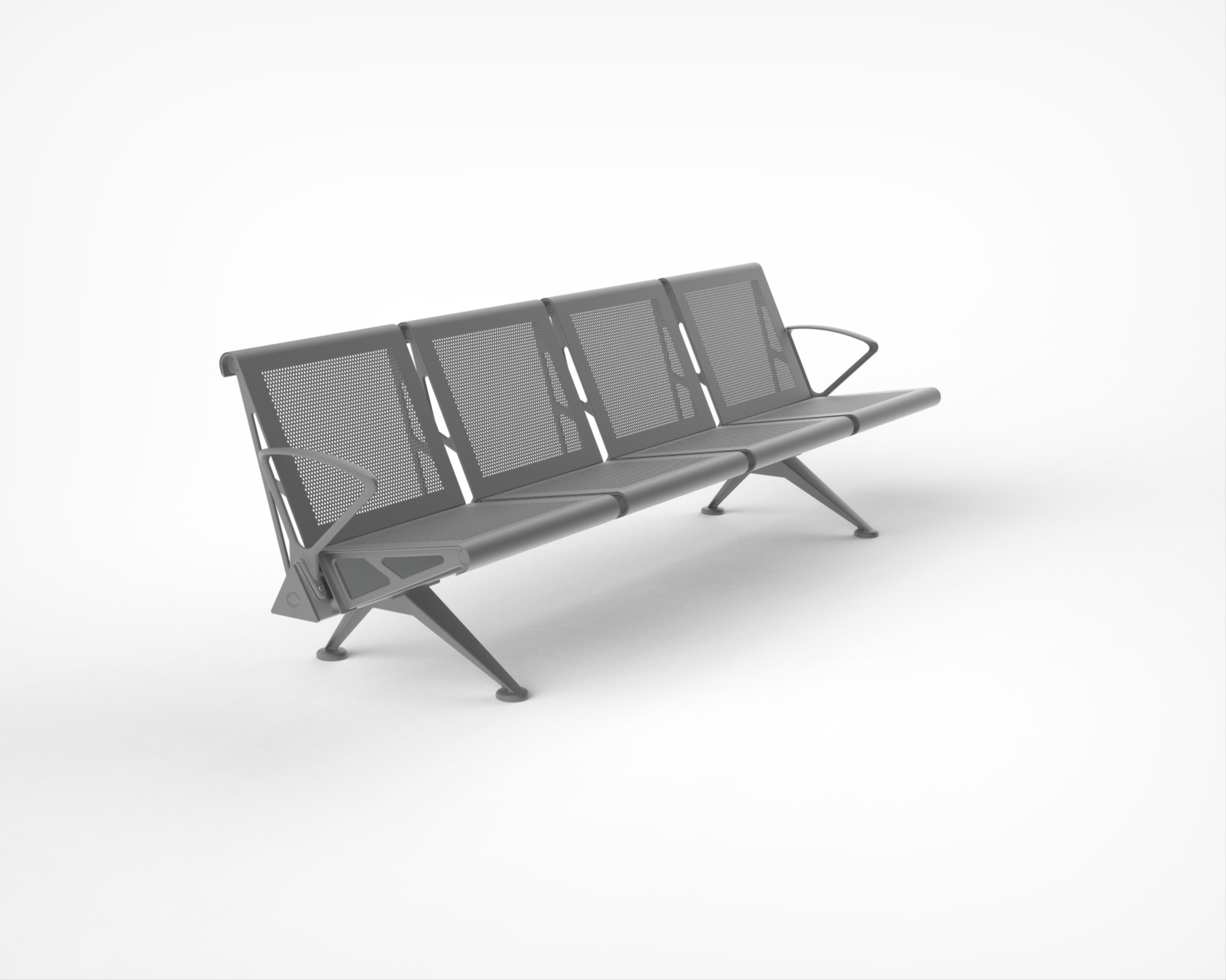 Trax - Low Back with Perforated Mild Steel finish