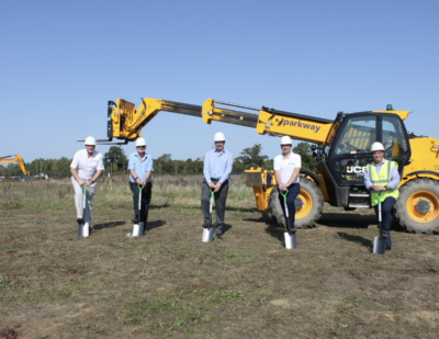 Breaking Ground for Jewers Doors at the Site of Their New Headquarters