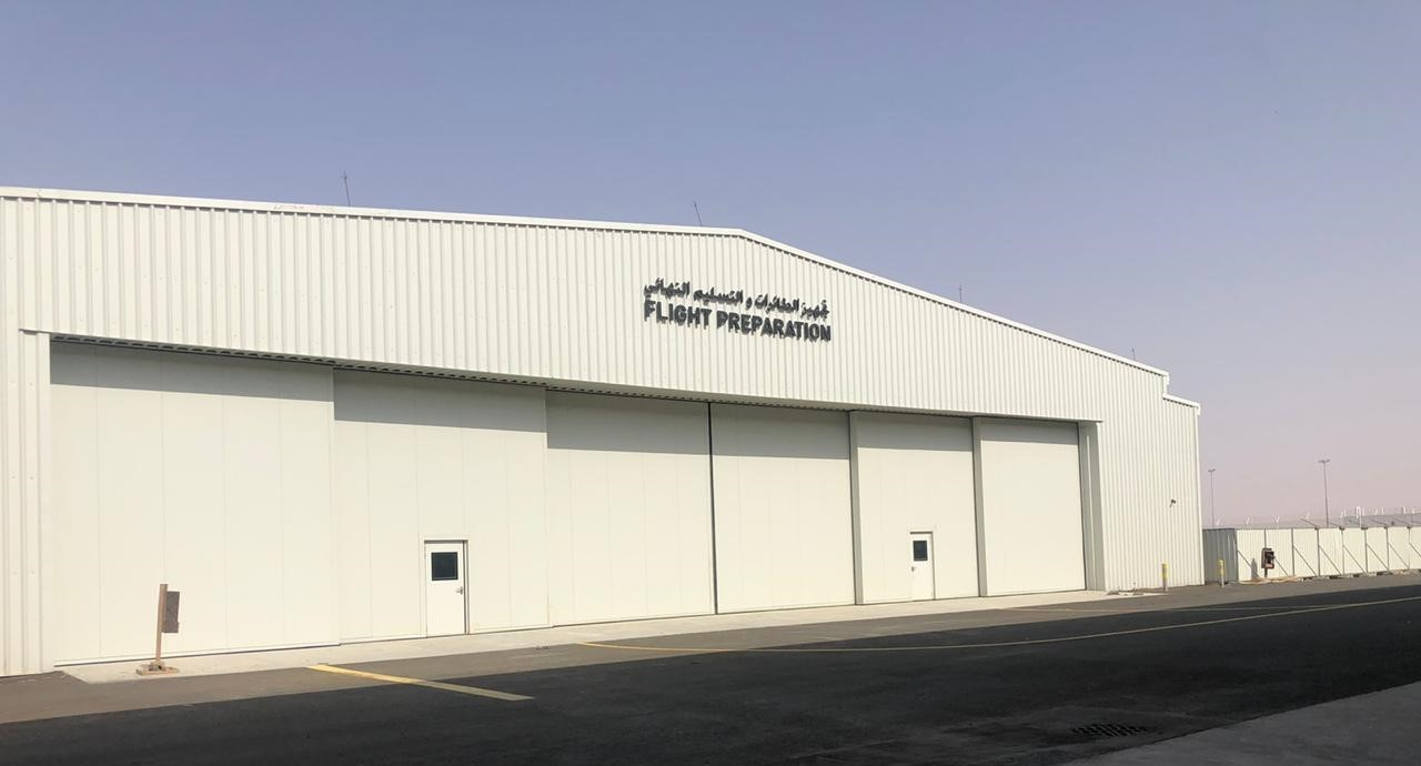 Calidus LLC at Al Ain International Airport – 2 sets of our Esavian Type 126 Sliding hangar doors – 2020
