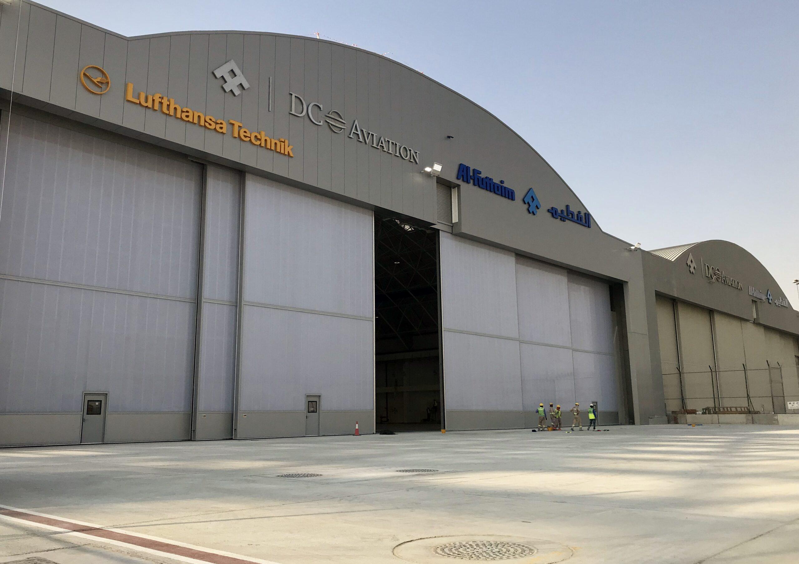 DC Aviation at Dubai South, Al Maktoum International Airport – One set of Esavian Type 126 sliding hangar doors – supplied in six equal leaves – 2018