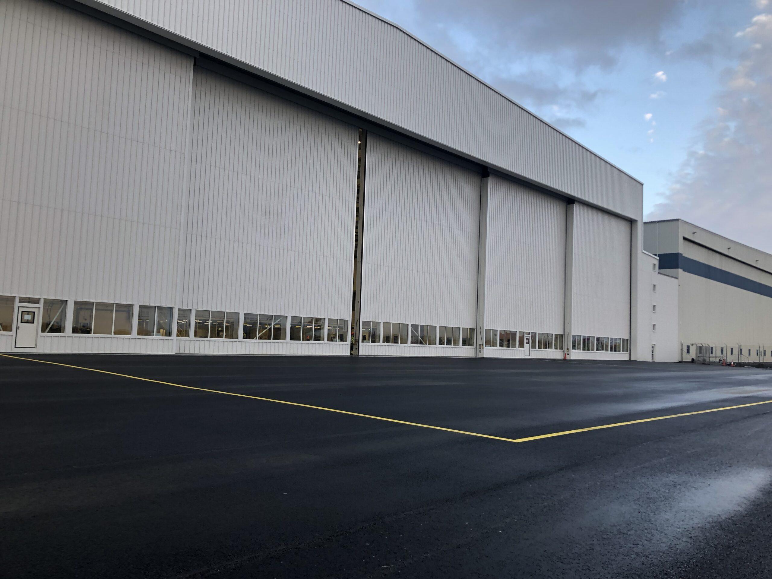 Icelandair at Keflavik International Airport – One set of our Esavian Type 126 sliding hangar doors – supplied in six equal leaves – 2018
