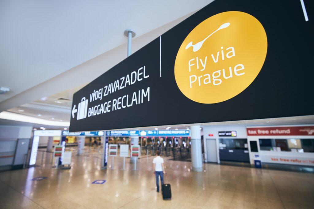 fly via Prague