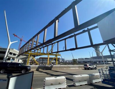 LAX Installs Structure for First Automated People Mover Pedestrian Bridge