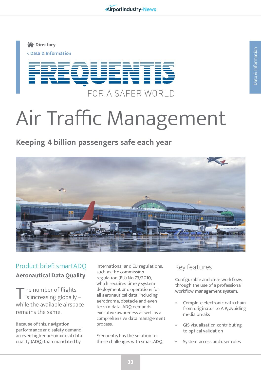 Frequentis Air Traffic Management – Aeronautical Data Quality